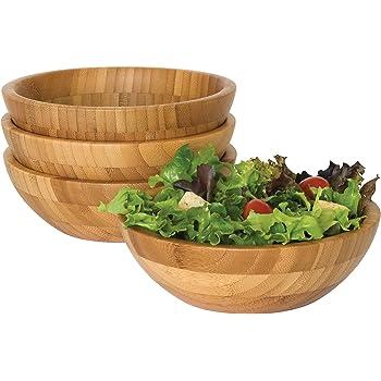 "Lipper International Bamboo Wood Salad Bowls, Small, 7"" Diameter x 2.25"" Height, Set of 4 Bowls"