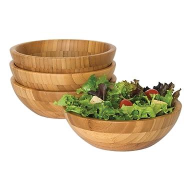 Lipper International 8203-4 Bamboo Wood Salad Bowls, Small, 7  Diameter x 2.25  Height, Set of 4 Bowls