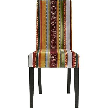 Kare Design Stuhl Econo Very British, Rot Gelb, Polsterstuhl Esszimmer, bunter, Farbiger Stoffbezug, Retro Essstuhl aus schwarzem Buchenholz, Stilmix,