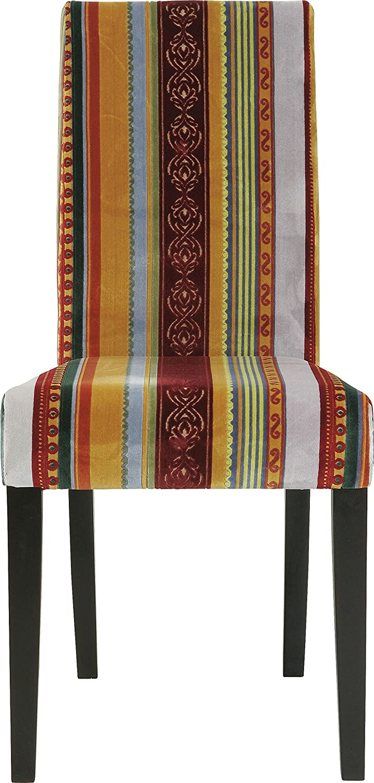 Kare Design Stuhl Econo Very British, Rot-Gelb, Polsterstuhl Esszimmer, bunter, Farbiger Stoffbezug, Retro Essstuhl aus schwarzem Buchenholz, (H B T) 99x49x58cm, buche