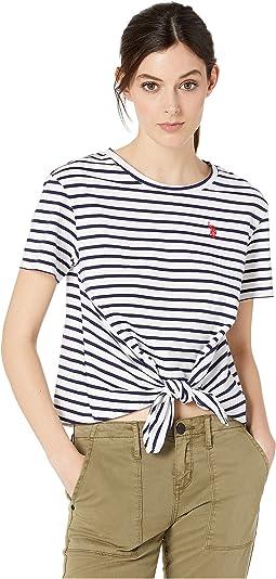 Stripe Knit Tie Top