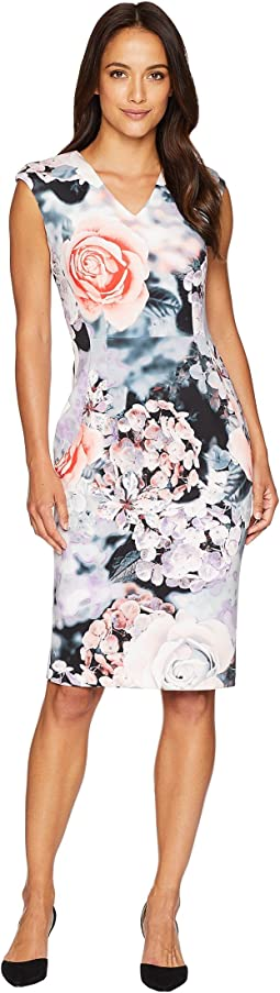 V-Neck Flower Print Sheath Dress CD8M98AV