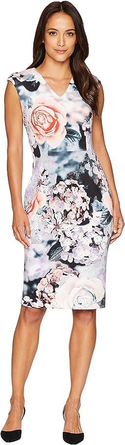 V-Neck Flower Print Sheath Dress CD8M98AV