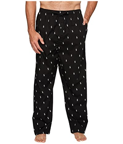 Polo Ralph Lauren Tall All Over Pony Player Woven Pants (Black/White Polo Player) Men