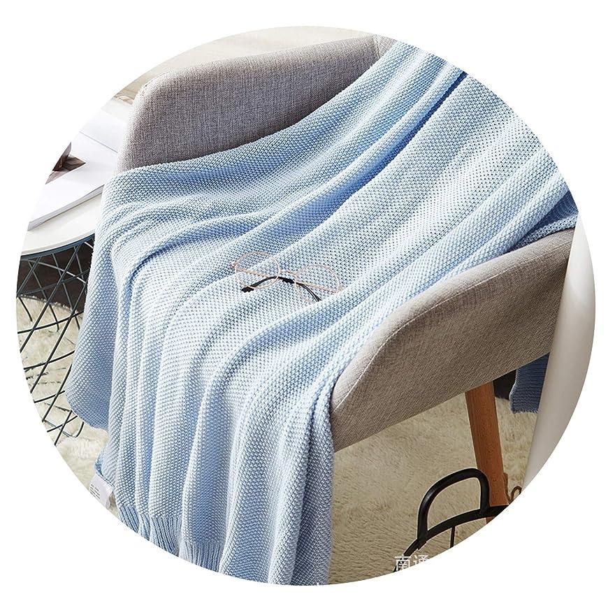 マエストロバスタブクリエイティブ綿編み毛布オフィス昼寝毛布レジャー毛布大人のカーペットオスマンサス針編み毛布ソファ綿毛布カバー,水色,75*100