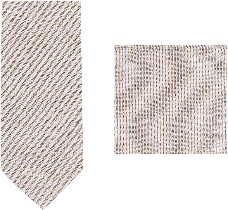 Jacob Alexander Men's Seersucker Slim Neck Tie and Pocket Square Set