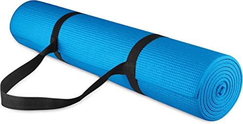 """BalanceFrom GoYoga All Purpose High Density Non-Slip Exercise Yoga Mat with Carrying Strap, 1/4"""""""