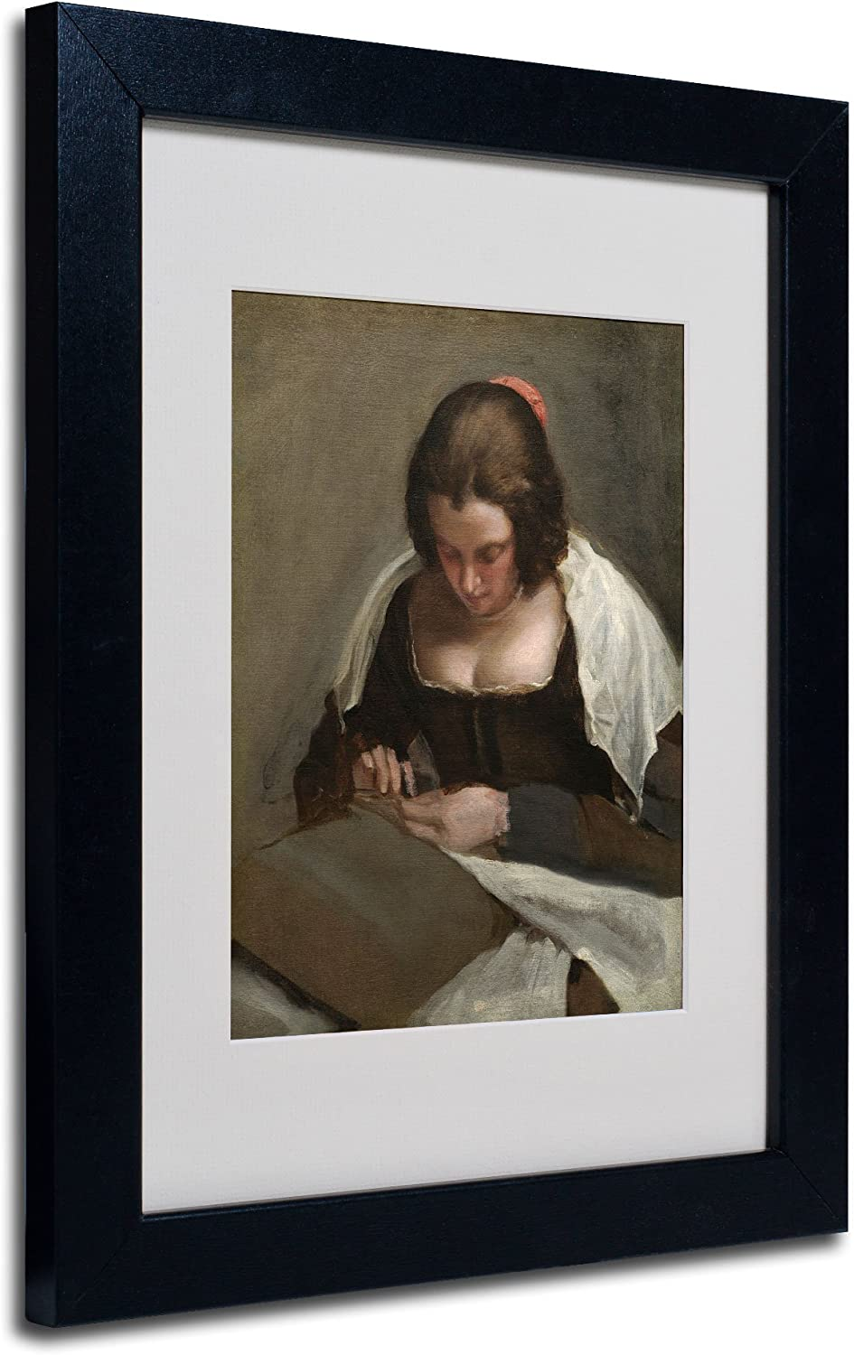 The Needlewoman Recommended 1640-50 by Diego Velazquez with Frame Direct store Artw Black