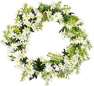 YQing 31cm Artificielles Marguerite Fleur Couronne, Blanc Couronne Porte de Couronne Decorative avec Verte Feuilles pour l...