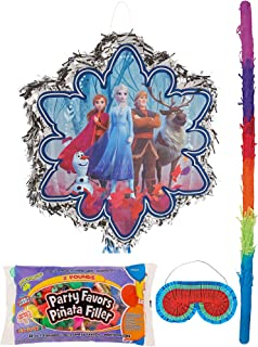 Party City Pull String Pinata Kit with Candy and Favors, Frozen 2 Party Supplies, Includes Bat and Blindfold