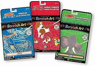 Melissa & Doug On the Go Scratch Art Activity Books Set - Safari Animals, Animal Families, Vehicles