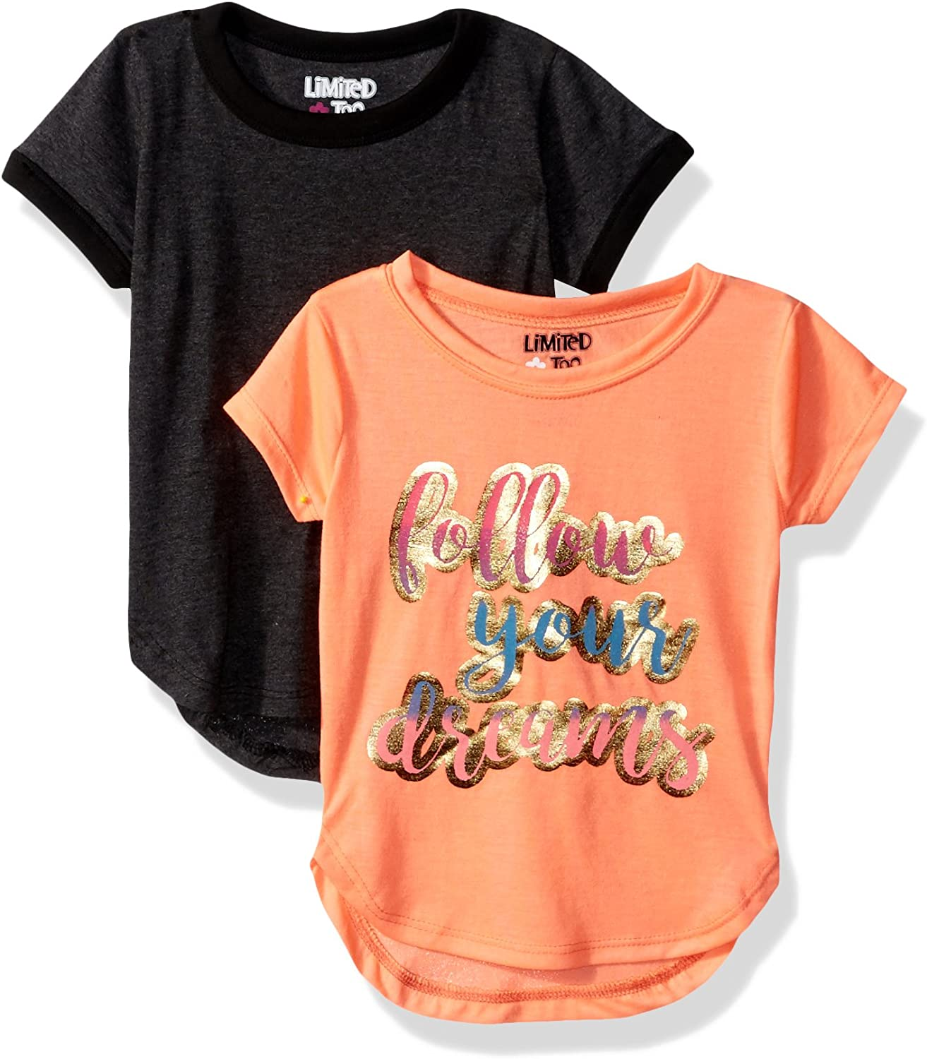 Limited Too Girls' 2 Pack Short Sleeve T-Shirt (More Styles Available)