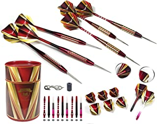 Professional Darts Set - Customizable Configuration 6 Steel Tip Darts (2 Styles) | 18 Shafts (3 Styles) |8 Standard Flights (2 styles)| 12 O-Rings | Darts Tool | Darts Sharpener | Case
