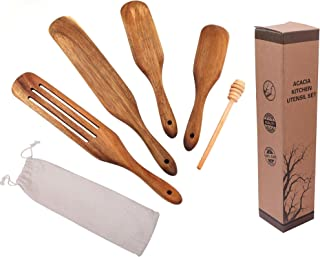 Wooden Kitchen Tools | Spurtle Set acacia | Durable, Scratch Resistant and Heat Resistant | Non-Stick Spurtle Spatula Set...