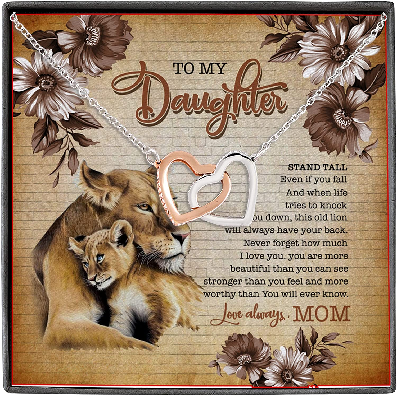 To Daughter Stand Tall Life Tries to Knock You Down This Old Lion Have Your Back Interlocking Hearts Necklace