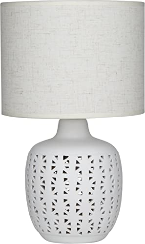 EMPORIUM CWTLE980 Cissy Table Lamp with Patterned Ceramic Base, White/Natural