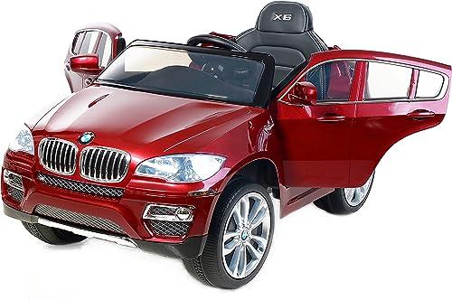 BMW X6 Peinture Rouge Luxury, Roues doux EVA, Véhicule électrique pour enfants, Sous licence originale, 12 V, 2,4 GHz Télécomhommede