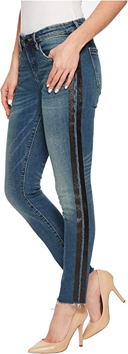Blank NYC - Cropped Skinny Classique with Metallic Side Stripes in Glow Away