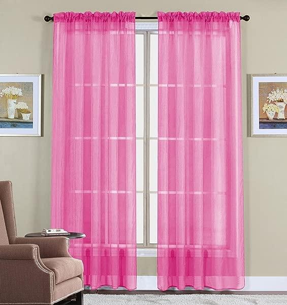 WPM 2 Piece Beautiful Sheer Window Elegance Curtains Drape Panels Treatment 60 W X 84 L Hot Pink