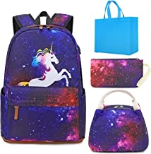 School Backpacks For Girls Laptop Backpack Unicorn Backpack 3 in 1 Kids Elementary School Bags Bookbag with Lunch Tote Bag Pencil Purse Bag