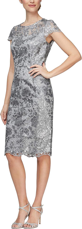Alex Evenings Women's Short Shift Knee Length Scoop Neck Dress (Petite & Regular)