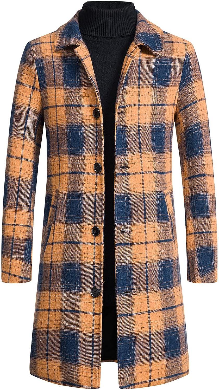 Pea Coats for Men Long, Mens Classic Long Overcoat Single Breasted Trench Coat Winter Warm Long Pea Coat Jackets