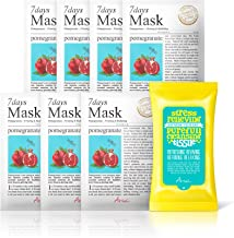 Ariul Natural Pomegranate Sheet Mask for Firming & Radiating, 7 Days Mask Multipack (7 Facial Masks + 15 Cleansing Wipe) Stimulate Collagen Production, 7 Day Skincare Therapy, Estrogen, Amino Acid