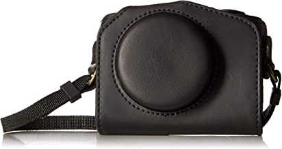 CEARI Vintage Leather Camera Case Bag with Strap for Canon Powershot G7X, G7X Mark II DSLR Camera - Black