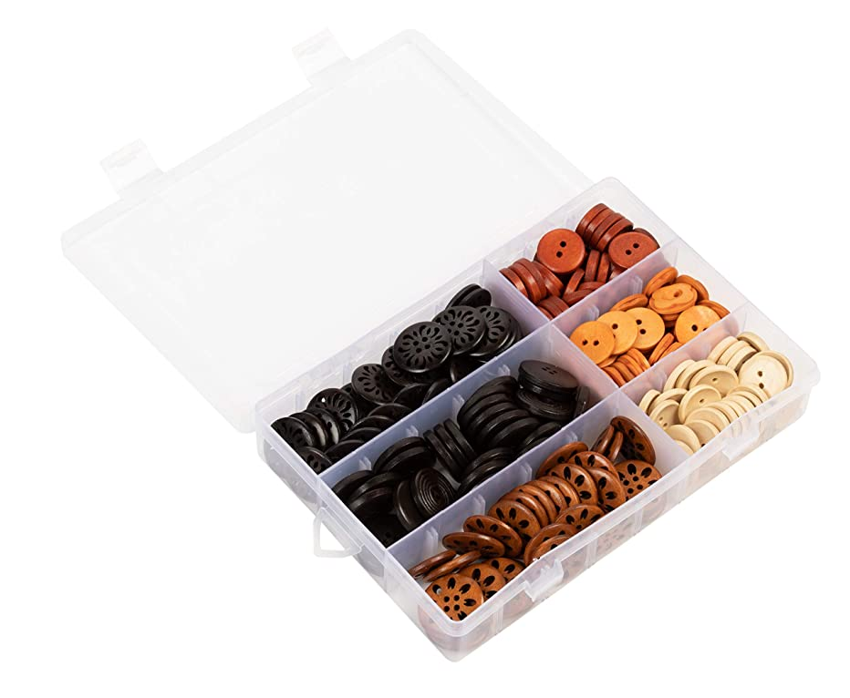 Wooden Buttons - 180-Piece Assorted Decorative Wood Buttons for Sewing and DIY Crafts