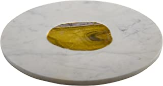 Thirstystone Marble/Agate Inlay Round Serving Board, White