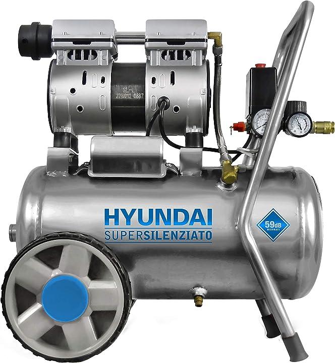 Compressore a secco hyundai silenziato 59 db compressore d`aria serbatoio da 24 litri B08NT64584
