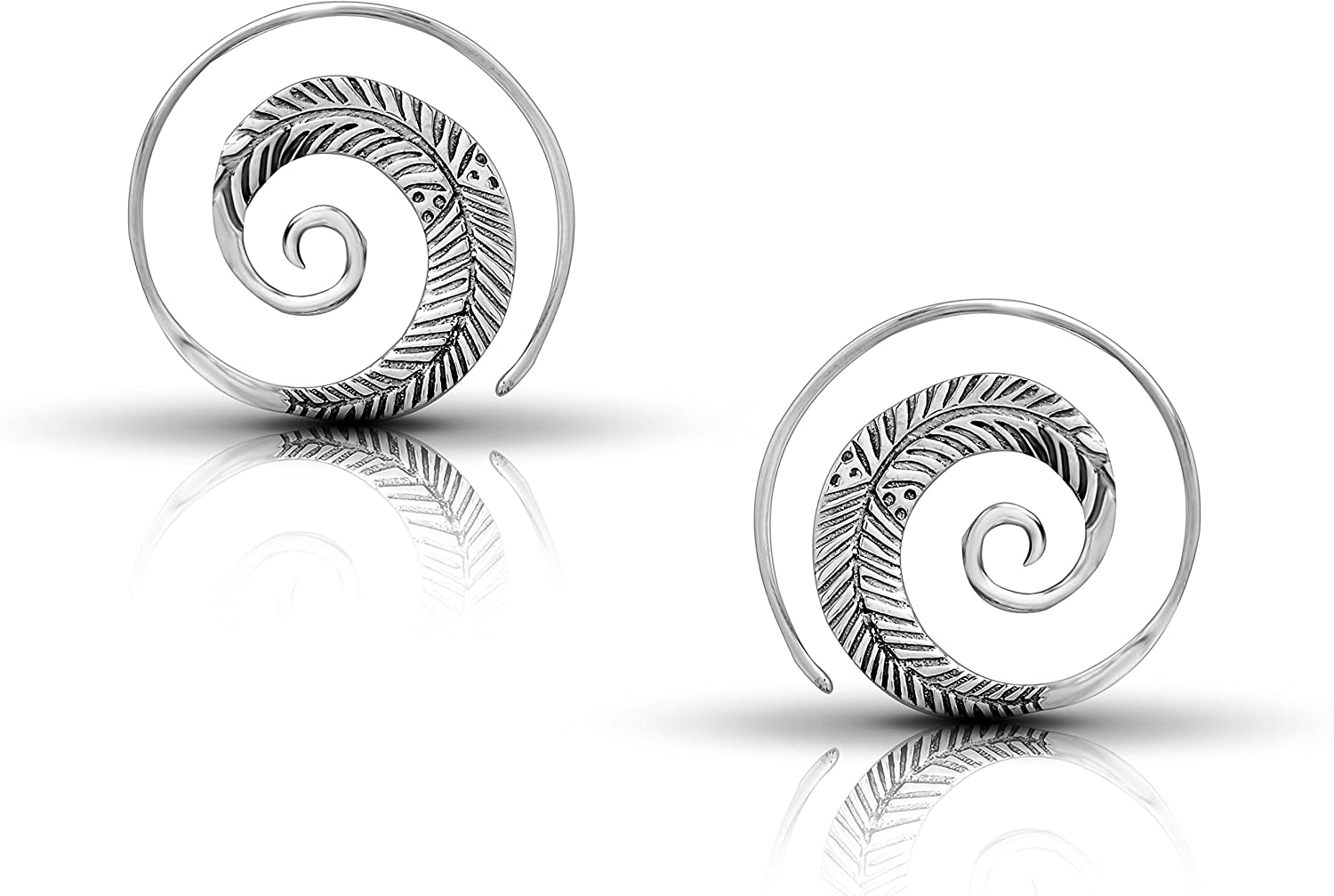 Max 87% OFF Spiral Leaves Hoop 25% OFF Earrings 925 Gipsy Tri Silver Ethnic Sterling