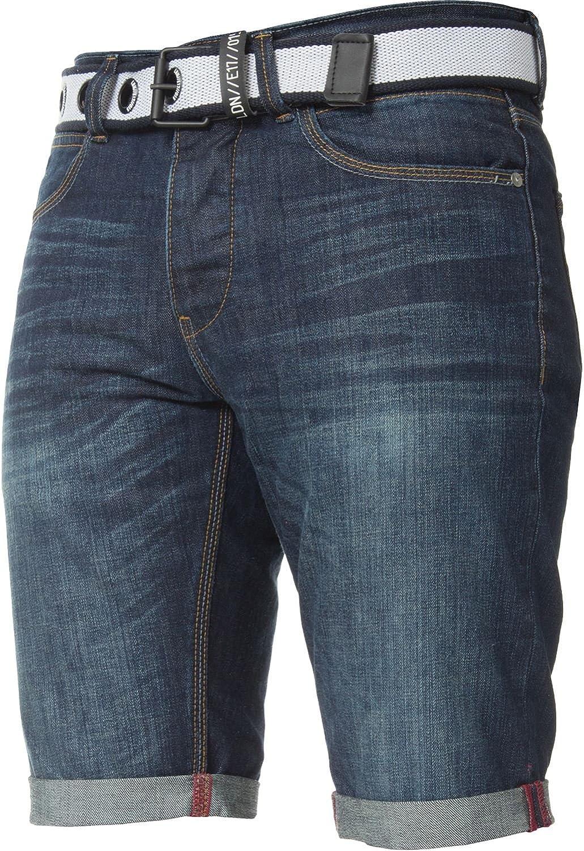 APT Mens Slim Fit Cotton Denim Shorts Free Belt All Waist Sizes Summer Half Pants