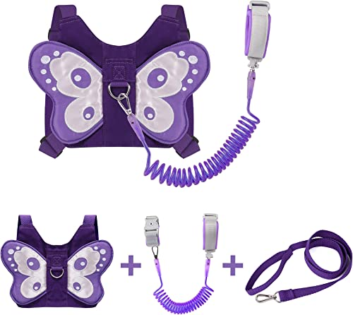 EPLAZA Butterfly-Like Toddler Harnesses with Leashes Anti Lost Wrist Link Wristband for Kids Girls Safety (Purple)