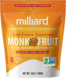 Milliard Monk Fruit Sweetener 1:1 Sugar Replacement, 0 Calories White Monkfruit with Erythritol