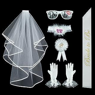 """6 Stück """"Bride to be"""" Dekoration Party set inkl.Schleier, Handschuhe + + Strumpfband + glasses + Band + Brosche Abzeichen"""