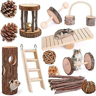 Elipark 12 Pack Guinea Pig Toys Set, Natural Apple Wood Rabbit Rat Bunny hillas Hamster Chew Toys Treats,Wooden Hamsters E...