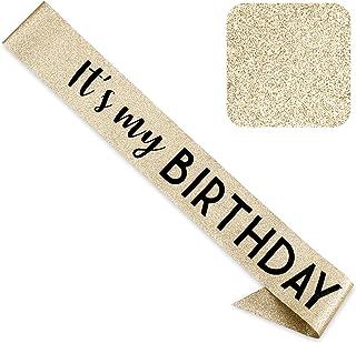 CORRURE 'It's My Birthday' Sash Glitter with Black Foil - Gold Glitter Birthday Sash for Women and Men - Happy Birthday Sa...