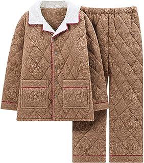 HUOFEIKE Warm Pajama 2-Piece Set for Men Coral Fleece Nightwear Nightgown Warm Sleepwear with 2 Pockets Long Sleeve Pullov...