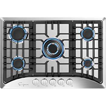 "Empava 30"" Gas Stove Cooktop with 5 Italy Sabaf Sealed Burners NG/LPG Convertible in Stainless Steel, 30 Inch, Silver"