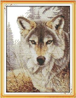 Kreuzstich Stickpackung Stickbild Stickvorlage vorgedruckt Sticken Wolf 19x25 cm -