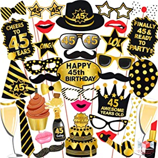 Wobbox 45th Birthday Photo Booth Party Props Black & Golden, Birthday Party Decoration, Birthday Party Item, Birthday Part...