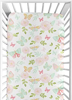 Sweet Jojo Designs Blush Pink, Mint and White Watercolor Rose Baby or Toddler Fitted Crib Sheet for Butterfly Floral Collection