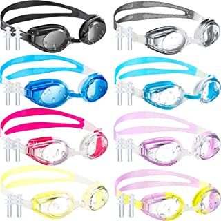 Frienda 8 Pieces Swim Goggles Swimming Goggles, Adjustable Silicone Swim Glasses Crystal Clear Swimming Glasses Goggles for Children and Teens, Clear Vision, Anti-Fog, Waterproof