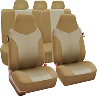 FH Group FH-FB101115 Beige/Tan Supreme Twill Fabric High Back Car Seat Cover (Full Set Airbag Ready and Split Rear Bench)- Fit Most Car, Truck, SUV, or Van