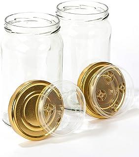 myFERMENTS Gläser mit Deckel - 1966 ml großes Fermentierglas zur Herstellung von Kombucha, Kimchi, Kefir - Flasche mit weiter Öffnung zum Einlegen, Fermentieren - Luftdichte Deckel - 2er Set