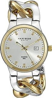 Ladies Swiss Quartz Genuine Diamond Twist Chain Bracelet Watch - Silver Tone