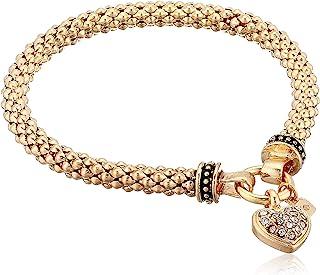 Nine West Women's Boxed Bracelet Pave Heart Stretch, Gold/Crystal