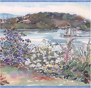 Wall Border - Bush Flowers Pond Lighthouse Retro Wallpaper Border Paint by Design, Prepasted Roll 15 ft. x 10 in.