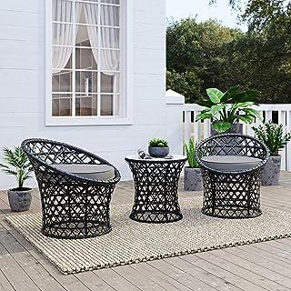 Modern Outdoor Wicker Leisure Set Bistro Balcony Setting Weather-Resistant, Black